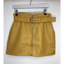 Yellow Pu Belted Mini skirt  - Yellow - Alternative 1