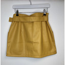 Yellow Pu Belted Mini skirt  - Yellow - Alternative 2