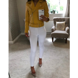 Glamorous Yellow Pu Biker Jacket - Yellow