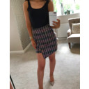 Multi Tweed Button Front Skirt  - Multicoloured
