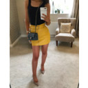Yellow Pu Belted Mini skirt  - Yellow