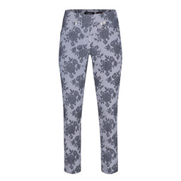 Robell Trousers Rose 09 Graphic Floral Print Trousers - Grey