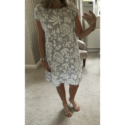 Lucy Cobb Ivy Printed Linen Dress in Grey