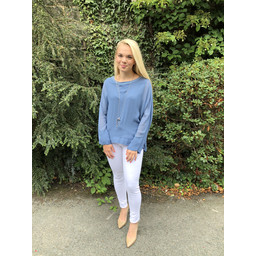 Lucy Cobb Georgette Top in Denim Blue