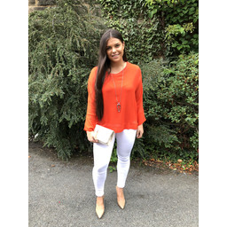 Lucy Cobb Georgette Top in Orange