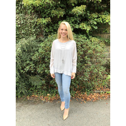 Lucy Cobb Georgette Top in Light Grey
