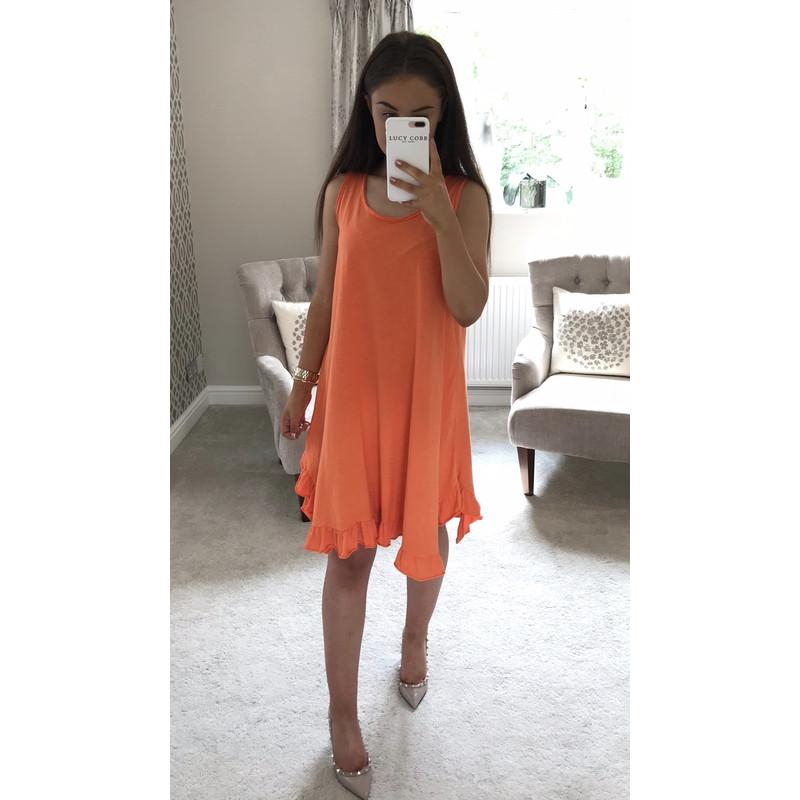 1b43f9ab018d5 Lucy Cobb Tess Frill Hem T Shirt Dress in Orange