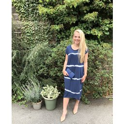 Lucy Cobb Taylor T Shirt Dress in Navy Tie Dye