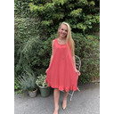 Tess Frill Hem T Shirt Dress - Coral - Alternative 1