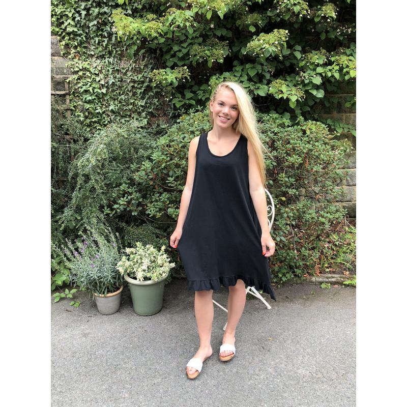345b5fe410546 Lucy Cobb Tess Frill Hem T Shirt Dress in Black