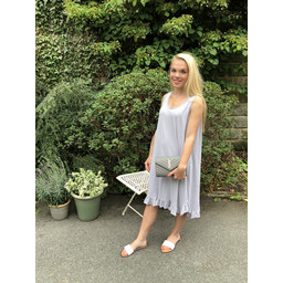 Lucy Cobb Tess Frill Hem T Shirt Dress in Light Grey