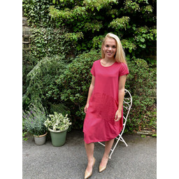 Lucy Cobb Taylor Linen Panel Dress in Fuchsia