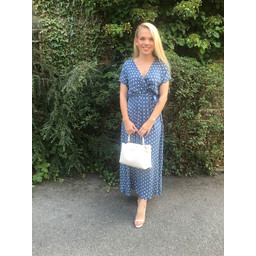 Lucy Cobb Liberty Spot Dress in Denim Blue