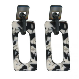 Lucy Cobb Chaiarra Modern Resin Earrings in Black & White