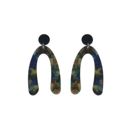 Lucy Cobb Samantha Abstract Resin Earrings in Blue Multi