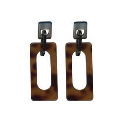 Lucy Cobb Chaiarra Modern Resin Earrings in Tortoise