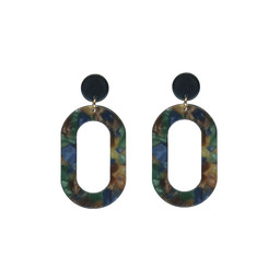 LC Jewellery Catarina Round Loop Drop Resin Earrings - Blue Multi