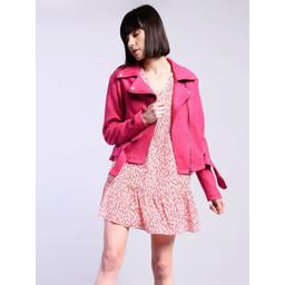 Glamorous Pink Faux Suede Biker Jacket - Hot Pink