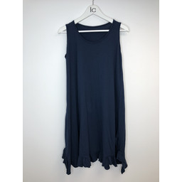 Lucy Cobb Tess Frill Hem T Shirt Dress in Navy