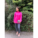 Edith Knit Side Split Jumper - Fuchsia