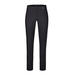 Robell Trousers Marie Minimalistic Jacquard - Black Mix