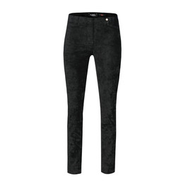 Robell Trousers Rose Suede Leather Look Trousers - Black