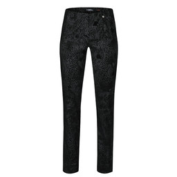 Robell Trousers Marie Paisley in Suede Trousers - Black