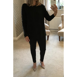 Lucy Cobb Lydia Sequin Ladder Arm Jumper - Black