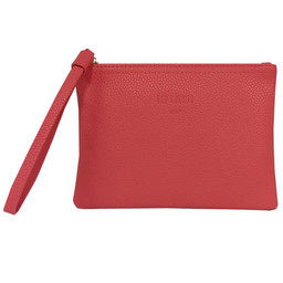 Red Cuckoo Textured Clutch in Coral