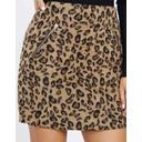 Brushed Leopard Zip Pocket Skirt - Leopard Print - Alternative 1