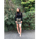 Brushed Check Zip Pocket Skirt  - Blue - Alternative 1
