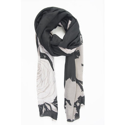 Lucy Cobb Sketched Rose Print Scarf - Black