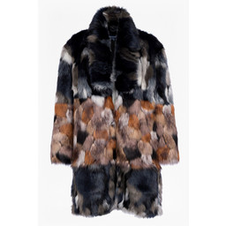 French Connection Gold Faux Fur Coat - Black Gold