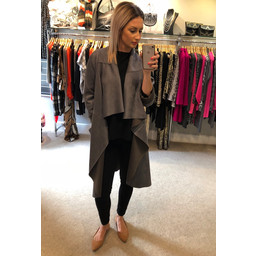 Lucy Cobb Hayley Waterfall Suede Coat - Grey