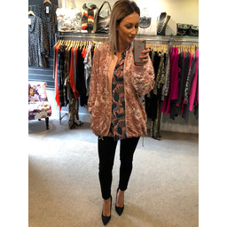 French Connection Adette Shine Sequin Bomber  - Pink