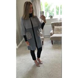 Lucy Cobb Nia Fur Pocket Coatigan in Grey