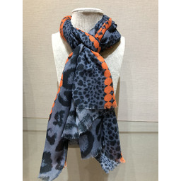 Lucy Cobb Helena Animal Print Scarf - Denim Blue