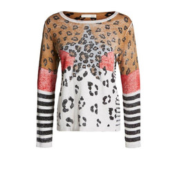Oui Animal Print Star Pullover - Animal Print