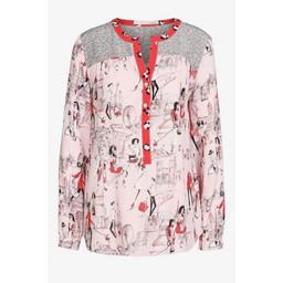 Oui Contrast Printed Tunic - Pink Multi