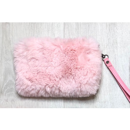 Lucy Cobb Faux Fur Clutch - Baby Pink