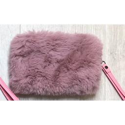 Lucy Cobb Faux Fur Clutch - Dusky Pink