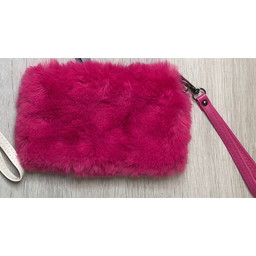 Lucy Cobb Faux Fur Clutch - Hot Pink