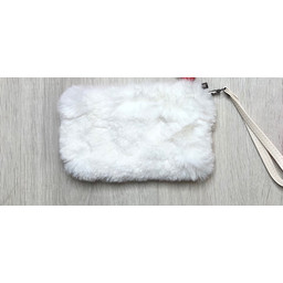 Lucy Cobb Faux Fur Clutch - White