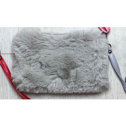 Lucy Cobb Faux Fur Clutch - Silver Grey