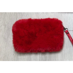 Lucy Cobb Faux Fur Clutch - Red