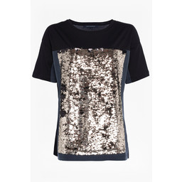 French Connection Emilia Sequin Jersey Tee - Black Gold