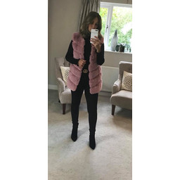 Lucy Cobb Amelia Hooded Faux Fur Gilet - Baby Pink