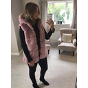 Amelia Hooded Faux Fur Gilet - Baby Pink