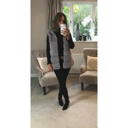 Lucy Cobb Amelia Hooded Faux Fur Gilet - Grey