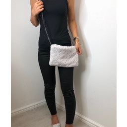 Lucy Cobb Pearl Faux Fur Bag  - White